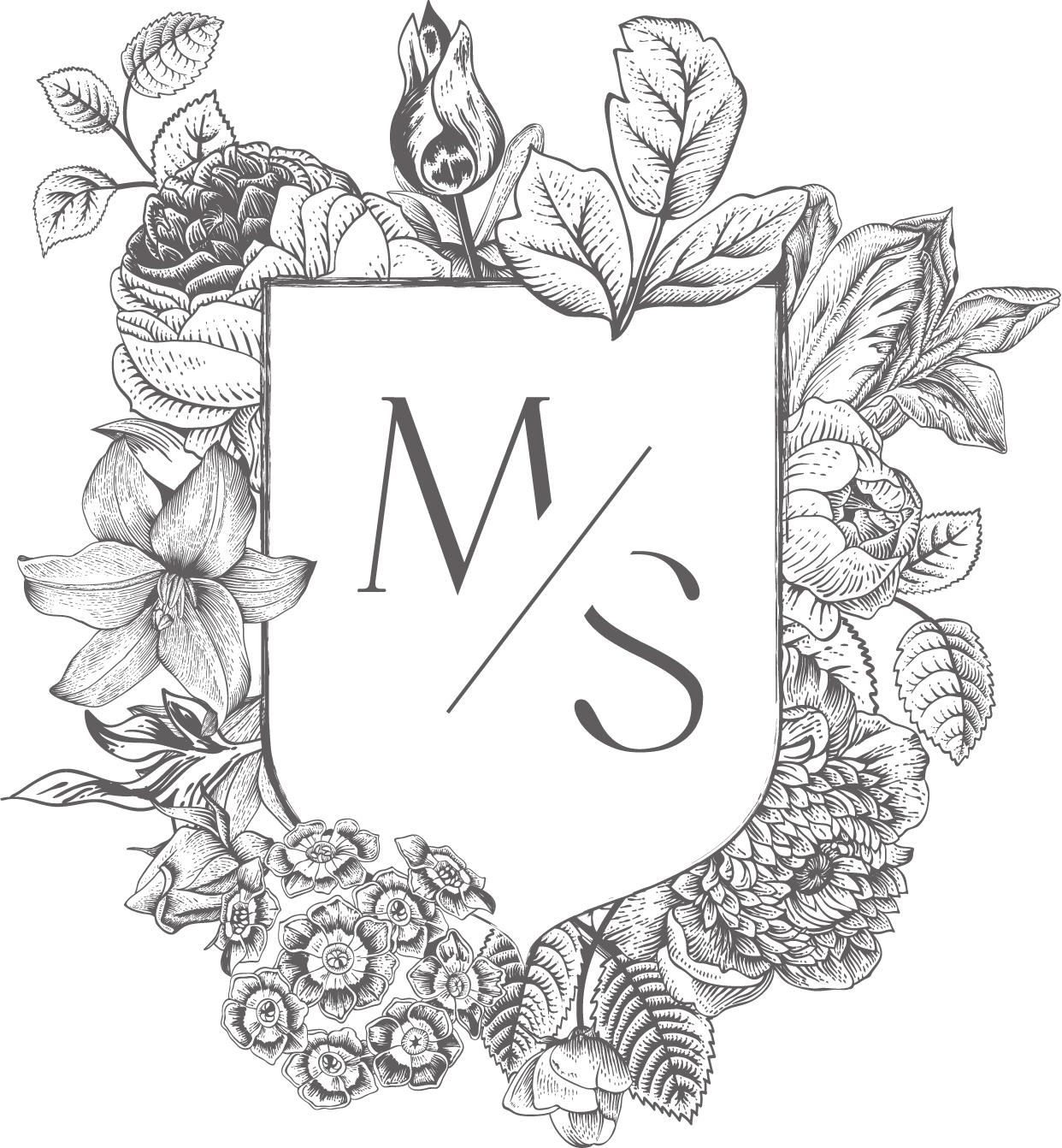 monogramme-fleuri-gris-charbon